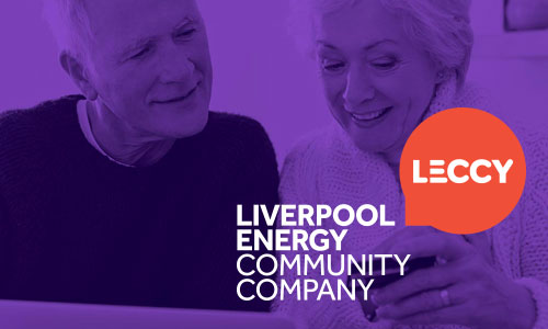 LECCY logo and image of couple keeping warm